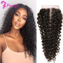 Extensiones de pelo rizado con malla con división en T, accesorio de cabello humano brasileño con cierre de encaje 100% 4x4