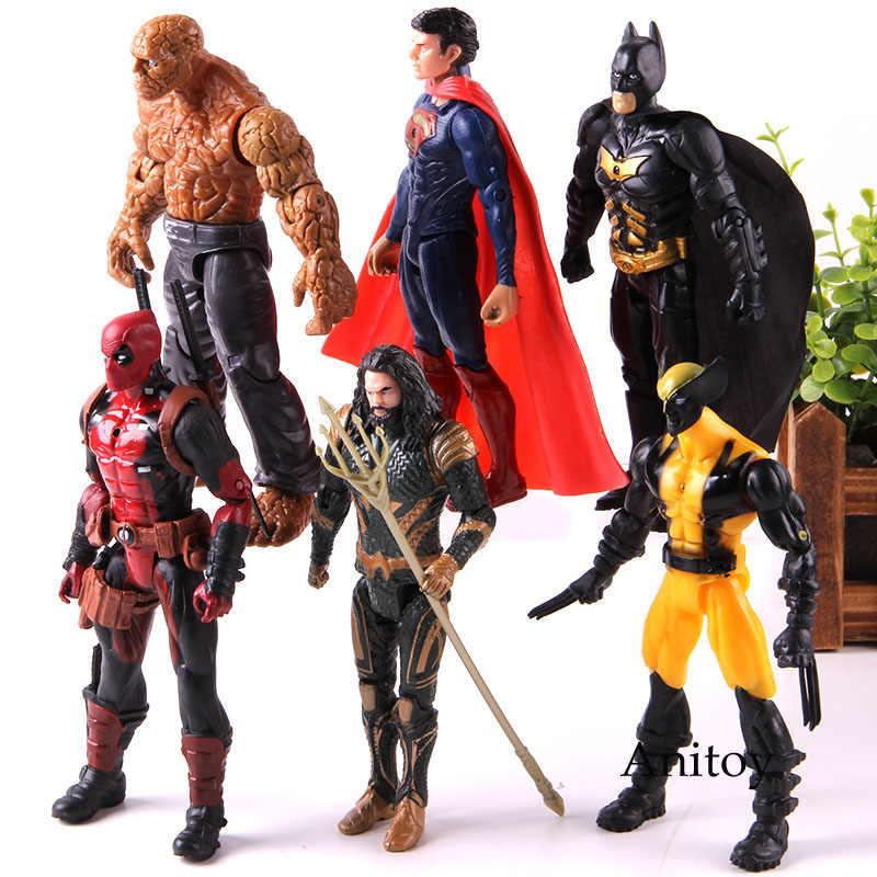 لعب عمل الشكل مع مصباح ليد أعجوبة لوغان Deadpool الشيء باتمان سوبرمان اكامان PVC النادرة نموذج لعب 6 قطعة/المجموعة