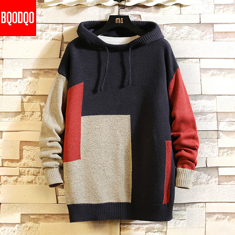 Knitted Hooded Jumper Designer Sweater Autumn Men Blue Patchwork Streetwear Casual Sweatshirt Tracksuit Fashion Sweaters Homme