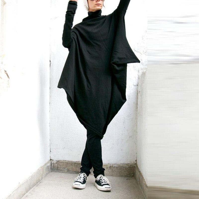 ZANZEA M-5XL Women Fashion Casual Oversized Long Sleeve Pockets Turtleneck Irregular Hem Baggy Pullover Dress Kaftan