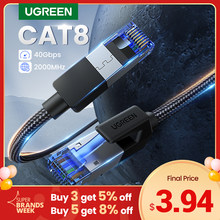 UGREEN Ethernet kablosu CAT8 40Gbps 2000MHz CAT 8 ağ naylon örgülü İnternet Lan kablosu dizüstü bilgisayarlar için PS 4 yönlendirici RJ45 kablo