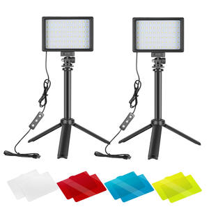 Lighting-Kit Tripod-Stand Video-Light Dimmable Neewer USB Photography 2-Packs 66 LED