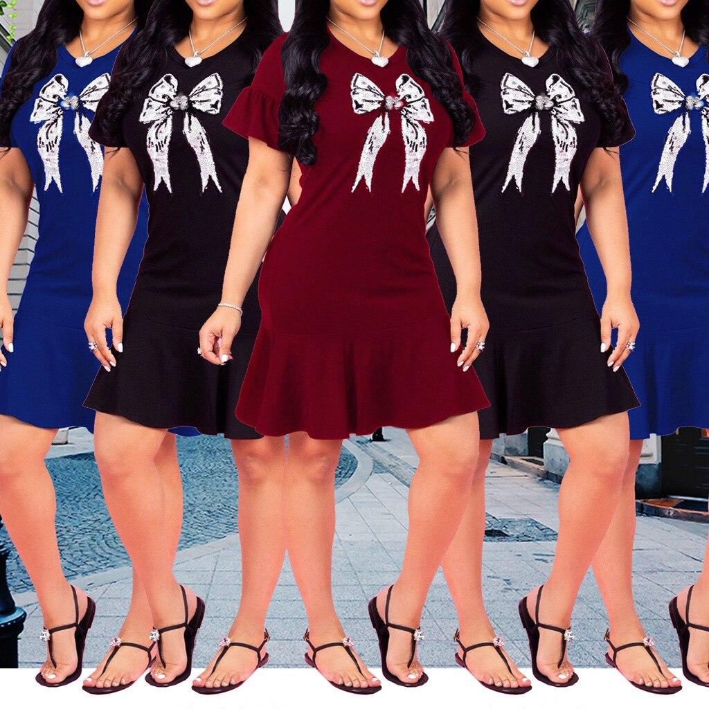 3480 2018 Europe And America WOMEN'S Dress Flounced Dress Nightclub Skirt 3-Color