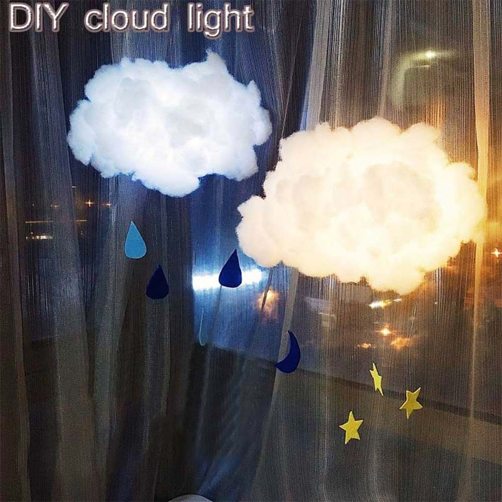 2 Colors DIY Handmade Cotton Light Gift Birthday Night Light Cloud Shape Lamp Bedroom Creative Illumination Kids Room Decoration
