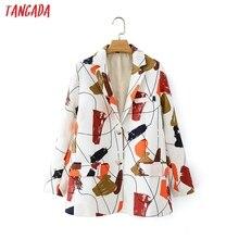 Tangada French style women suit Graffiti blazer female long