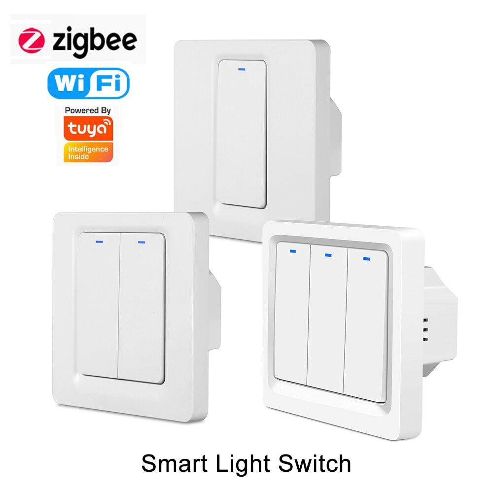 Умный светильник ель света Smart Life Tuya Wi-Fi ZigBee, настенный кнопочный переключатель, голосовое управление Alexa Google Home IFTTT, не требуется нейтральный...