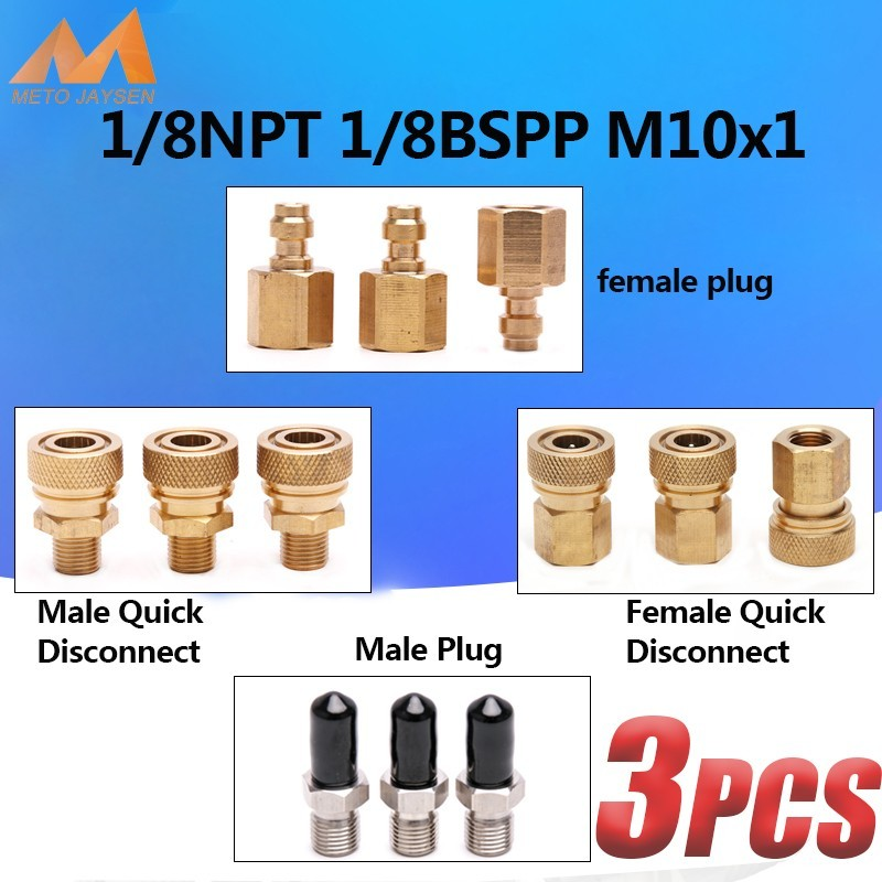 8MM M10x1 1/8NPT 1/8BSPP PCP Airforce Paintball Pneumatic Quick Coupler Male Plug Adapter Fittings Stainless Steel 3pcs/set
