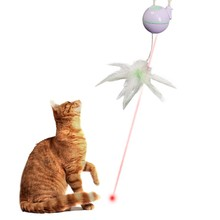 New Automatic Feather Lifting Laser Electronic Cat Toy Automatic Rotating Rod With Feather Cat Teasing Environmentally Toy цена