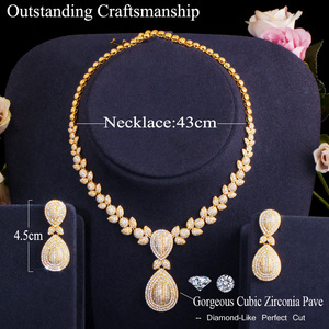 Image 5 - CWWZircons Noble Micro Pave Cubic Zirconia Stones Luxury Dubai Gold Color Bridal Wedding Necklace Jewelry Sets for Women T157
