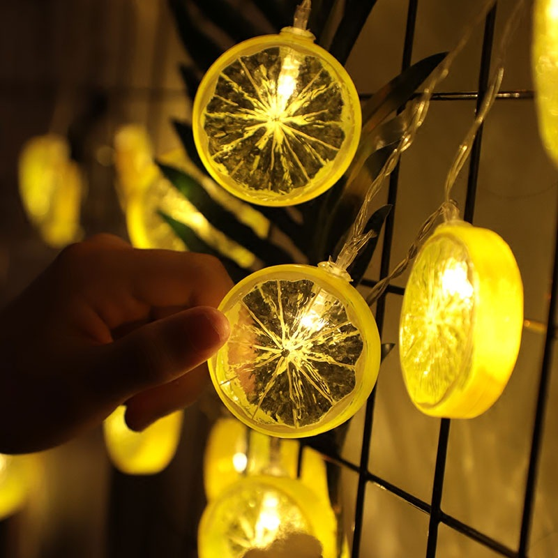Lemon Slices String Lights Christmas Home Decoration Garland USB LED Light String 10 LEDs Fairy Lights For Photo Wedding Decor