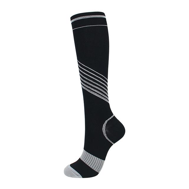 Elastic Compression Socks Men Women Knee High Colorful Stripe Pattern Sport Support Socks for Running Soccer Basketball Sports