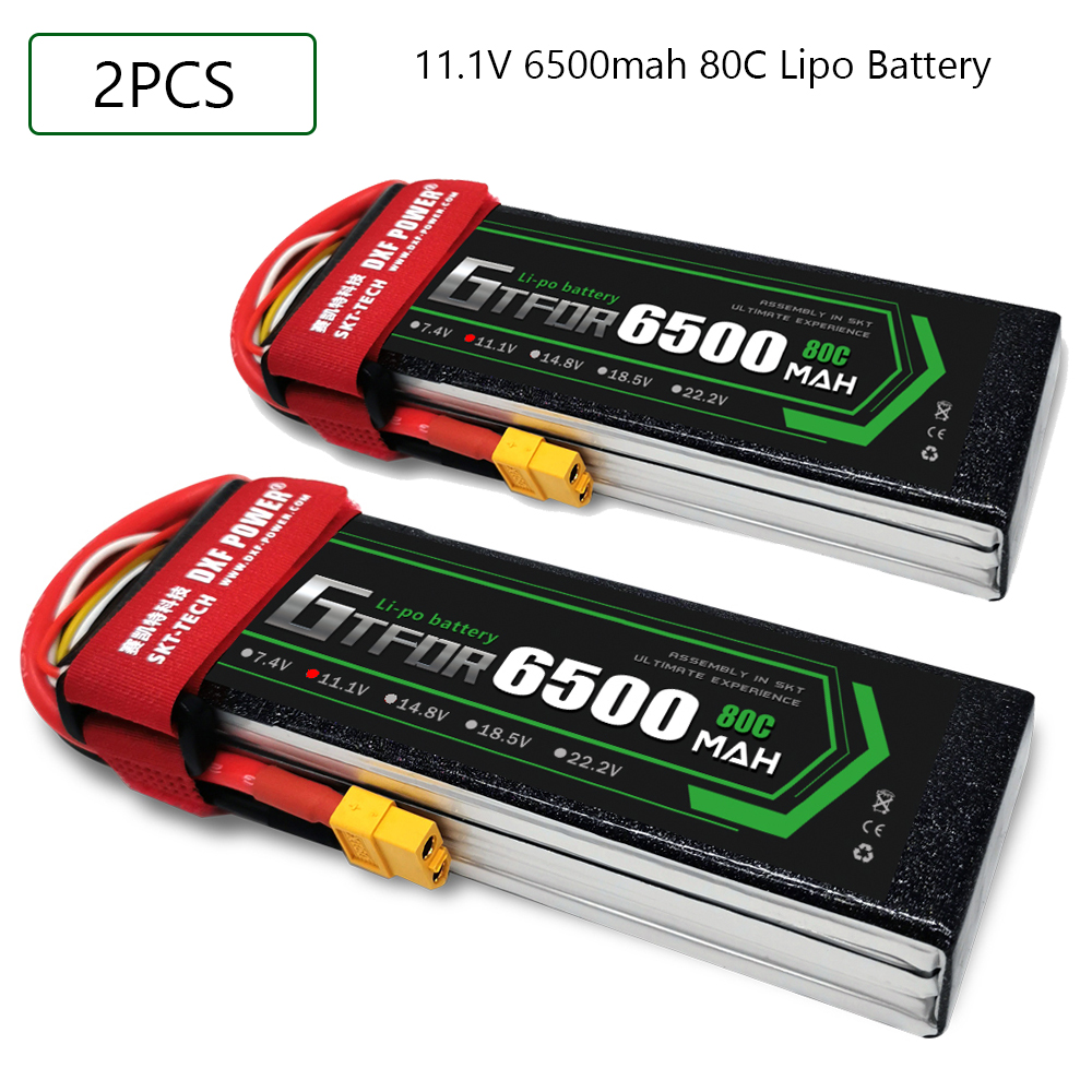 GTFDR RC Battery 11.1V 6500MAH 80C-160C 3S XT60 EC5 XT90 DEANS XT150 Lipo Battery Batteria RC Car Boat Plane Quadcopter Battery