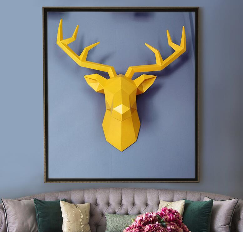 Large Size 4 Color Available New Geometry 3D Animal Deer Head Wall Decoration Head Resin Wall Ornament Xmas Gift Creative Gift