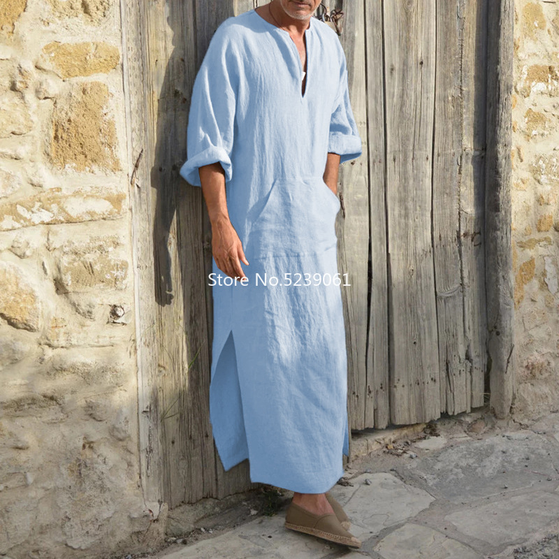 Islamic Traditional Jubba Thobe Men Abaya Linen Muslim Robes Dubai Arabic Kaftan Clothing Qamis Homme Arab Turk Gown Hijab Dress Men
