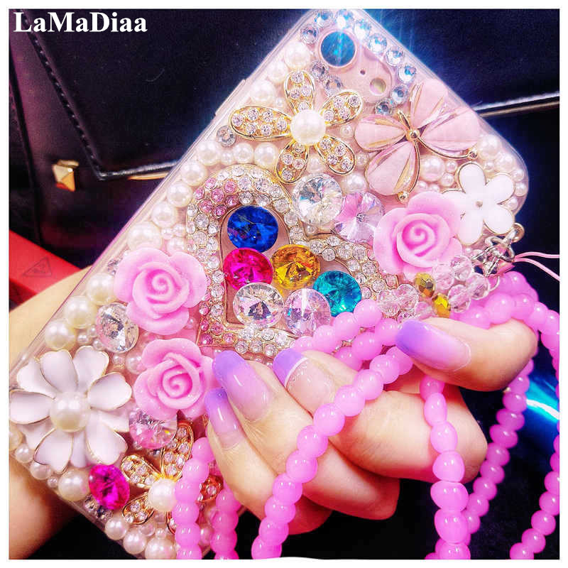 Luxury Glitter Pearl <font><b>Diamond</b></font> Crystal Rhinestone Phone <font><b>Cases</b></font> For <font><b>Huawei</b></font> P8 P9 P10 <font><b>P20</b></font> P30 P40 PLUS LiTE Mate 10 20 30 Pro Lite image