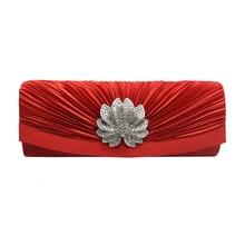 2019 new design woman evening clutch bag lady girl female pleated drape satin diamante diamonds crystal rhinestone
