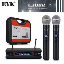 EYK 500Mhz Double Channels Wireless Microphone With Plastic Box Two Color For Chose Suitable For Home Party Karaoke Or As Gift