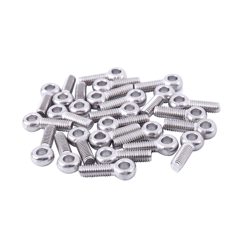 Screw M6 x 20mm Stainless Steel Machine Shoulder Lifting Eyebolt 25 Pcs Size: M6, Length: 20mm, Color: Silver