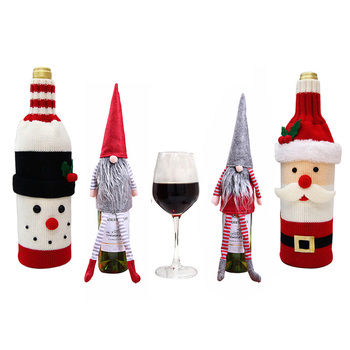 Wine Bottle Cover Christmas Decorations For Home Dinner Party Table Decors Santa Claus Snowman Gift Navidad Xmas Party Supplies