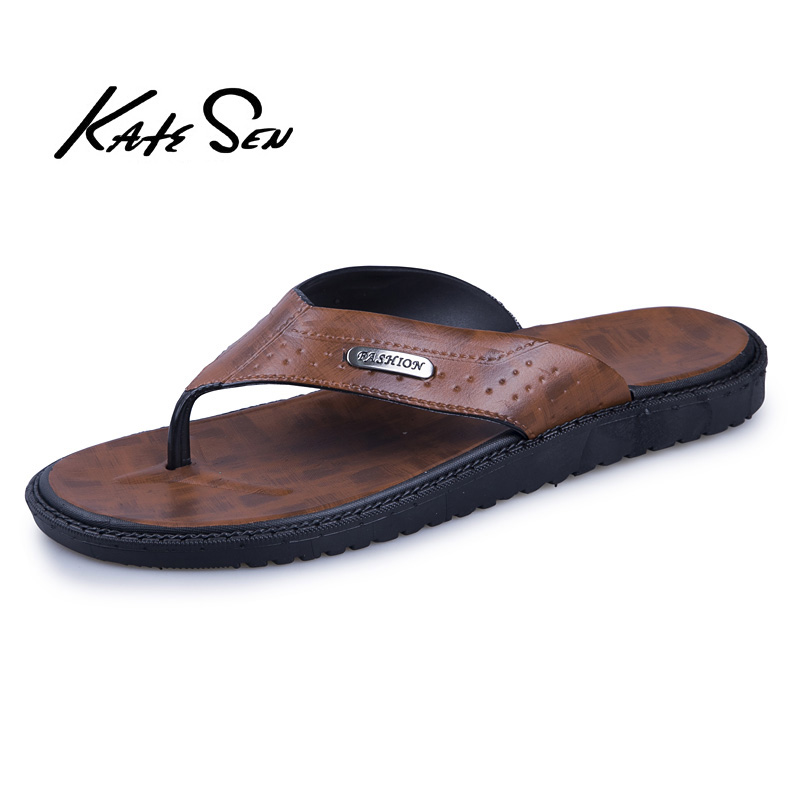 Summer Shoes Slippers Flip-Flops Beach-Sandals Genuine-Leather Fashion High-Quality Brand title=