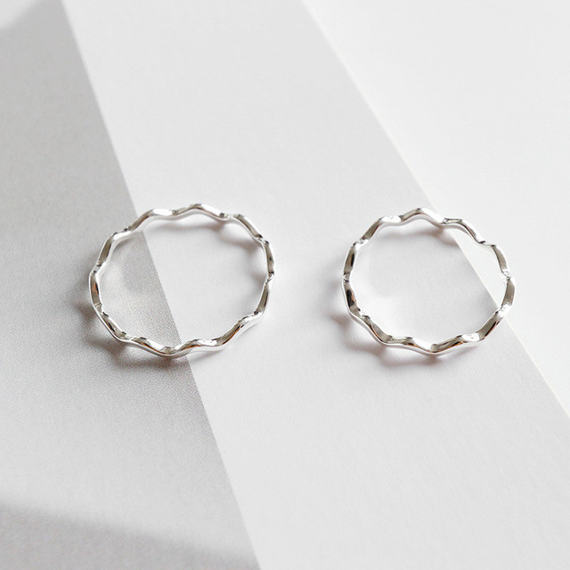 GU-134 Pure 100% 925 Sterling Silver Finger Rings for Girls Ladies Simple Thin Line Curve Wave Wild Smooth Ring Jewelry