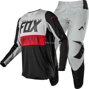 2020 Delicate Fox 180 Fyce MX Offroad Jersey Pants Motocross Motorbike Scooter Black Grey Suit