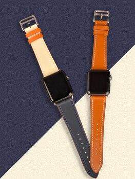 цена [promotion] genuine leather strap For apple watch series 5 4 3 2 1 iwatch bands 38 40MM 42 44mm belt single tour men women band онлайн в 2017 году