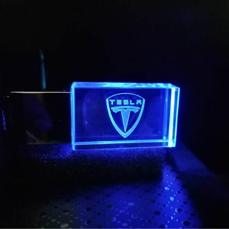 64GB Crystal+metal Tesla Kye Model USB Flash Drive 4G 8G 16GB 32GB Precious Stone Pen Drive Logo Custom Company Promotional Gift