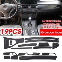 Para bmw série 3 2005-2013 e90 e92 e93 m esportes carro moldagem adesivos de fibra de carbono 3d/5d controle central decalques guarnição decorativa