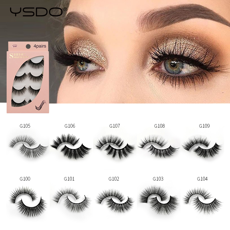 YSDO Lashes 4 Pairs Eyelashes Natural Long 3d Mink Lashes Faux Cils Mink Eyelashes Strip 3d False Eyelashes Makeup Volume Cilios