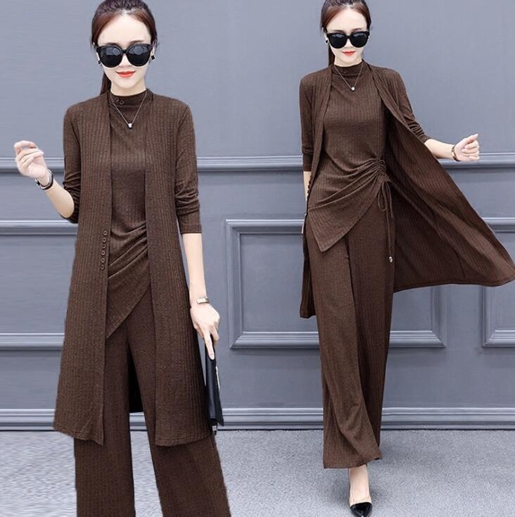 Трикотажные 3 шт набор женщин спортивный костюм с длинным рукавом джемпер пуловер топы широкий ноги брюки костюм женщин устанавливает элегантный коричневый офисе