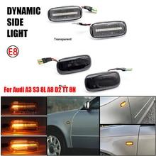 아우디 A3 S3 8L 2000 2003 A8 D2 1999 2002 TT 8N 2000 2006 다이나믹 턴 시그널 사이드 마커 Blub 표시기 앰버 자동 스트립 LED
