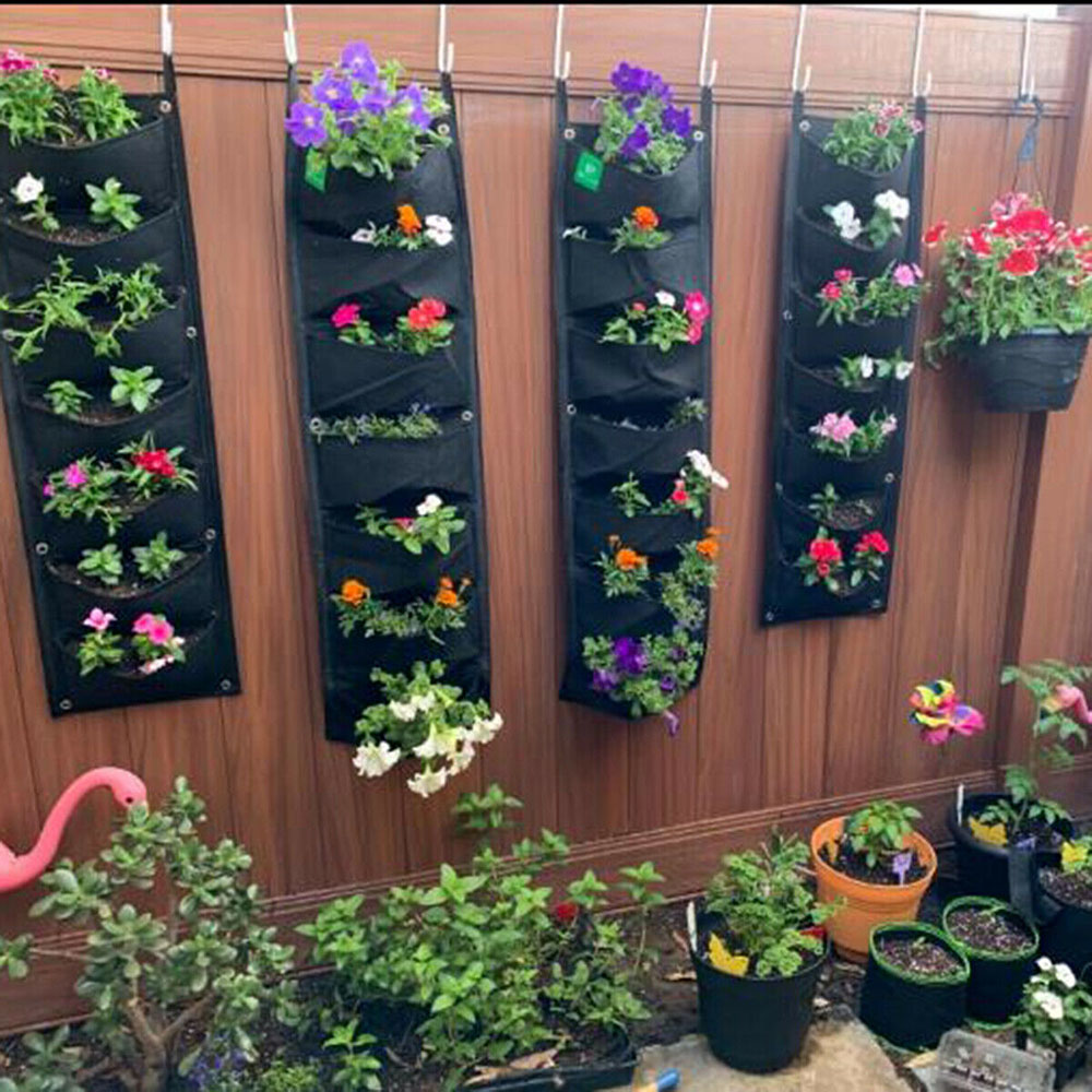 100*30cm Vertical Garden Planter Wall-mounted Planting Flower Grow Bag 7 Pocket Vegetable Living Garden Bag Home Supplies D30