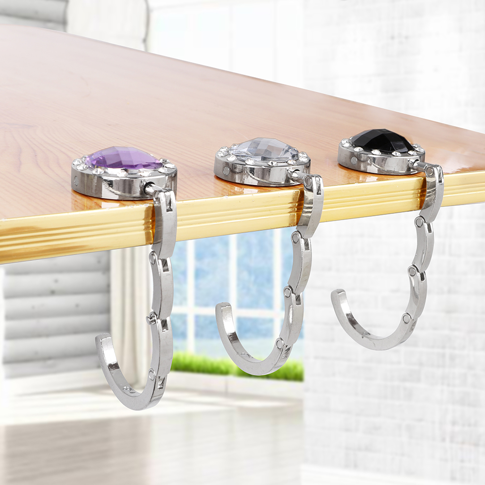 NICEYARD Portable 3 Colors Crystal Alloy Purse Bag Hook Holder Desk Hanger For Hanging Foldable Hangbag Hook Table Hook