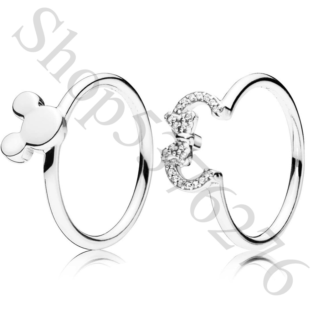 Europe-Ring Jewelry Bead Silhouette 925-Sterling-Silver Mickey Minnie Women Original title=