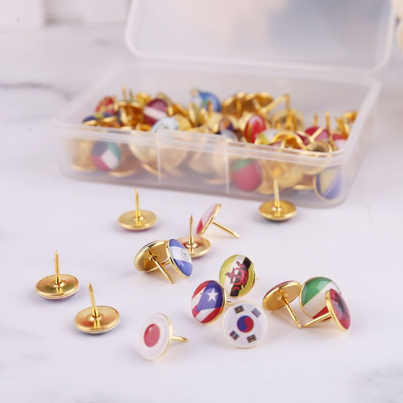 100pcs/box Map Tacks National Flag Glue Thumbtack Push Pins Notice Board Markers