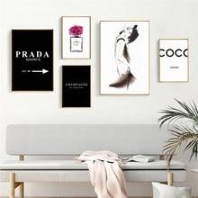 Mode CoCo Nordic Parfüm Flasche High Heels Wand Kunstdrucke Leinwand Malerei Moderne Wand Poster Bilder Wohnzimmer Wohnkultur