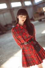 In The Fall of 2019 New Star Has Same Red Plaid Single-breasted Shirt Dress with Long Sleeves Dresses Women