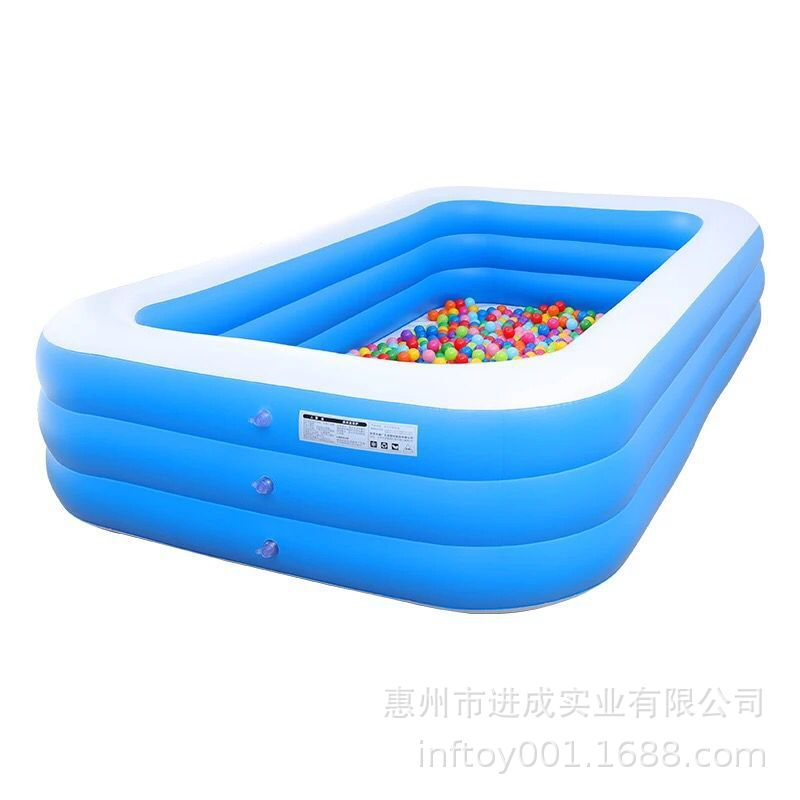 Factory Currently Available Large Size Rectangular Pool Children Paddling Pool Household Inflatable Pool With Hand Push Pump Col
