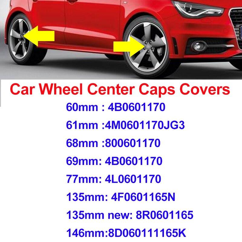 Estilo do carro para audi cinza/preto 60mm 61mm 68mm 69mm 77mm 135mm 146mm centro da roda tampas emblema emblema roda hub labe cobre