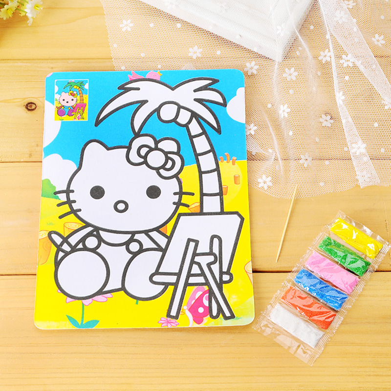 Color Sand Painting Kids Drawing Toys DIY Sand Painting Pictures Paper Cards Creative Art Doodle Educational Toys For Boys Girls