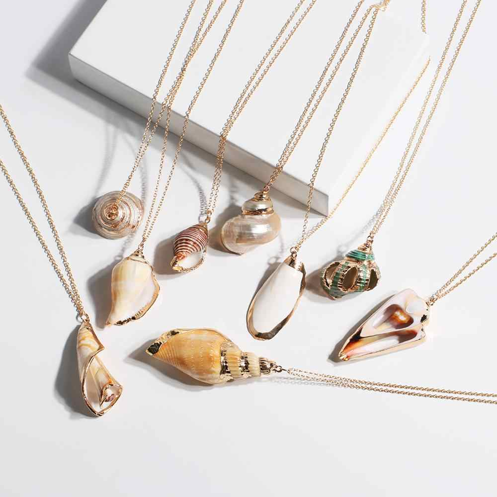 Colar de concha colar de ouro feminino boho instrução nceklace longo corrente pendente presente de festa para mulher