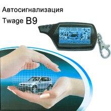 Sadece rus Twage tamarack B9 2 yönlü araç Alarm sistemi + motor çalıştırma LCD uzaktan kumandalı anahtar anahtarlık B 9
