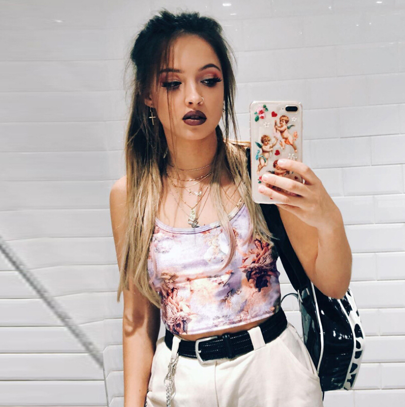 Summer SexyCrop Tank Camis Tops Women Angle Print  Sleeveless Fashion Casual Daily Pretty Stylish Ladies Skinny Clothes