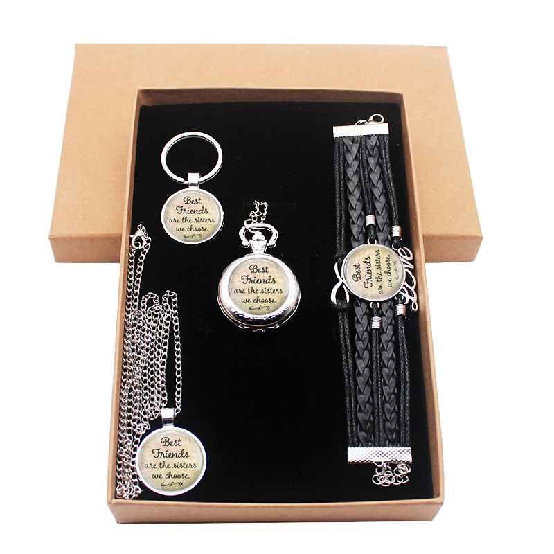Classic Best Friends Silver Jewelry Gift Set Have Pocket Watch And Pendant Necklace And Key Chain Bracelet With Gift Box