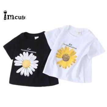 2 sztuk/partia marka 2020 słonecznik Cartoon T Shirt Kid nowy letni T-shirt dzieci Tshirt dziewczyna chłopiec słodkie Tee topy odzież 80-130 rozmiar