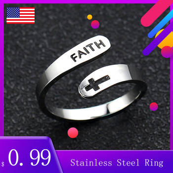 2020 jewelry faith Rings& Stainless Steel Rings For Women vintage cross letters round Engagement Rings Gifts for the new year image