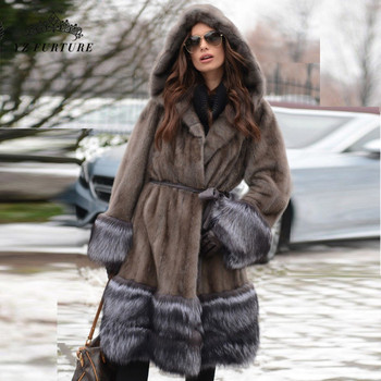 100cm Long Jackets Full Pelt Mink Fur Coats For Women Luxurious Silver Fox Fur Cuff & Hem Real Fur Coat With Hoods New MKW-227