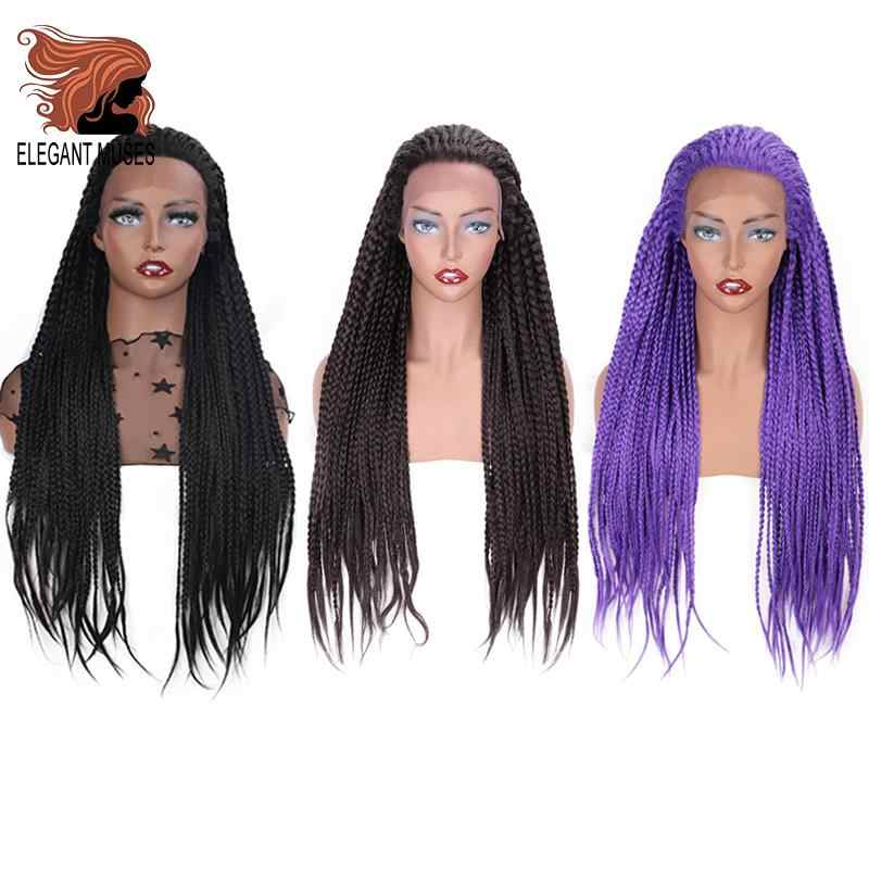 ELEGANT MUSES Lace Front Wig Synthetic Wig Dark Brown Long Box Braid Purple Glueless Braided  For Afro Women Daily Wear 26 Inch