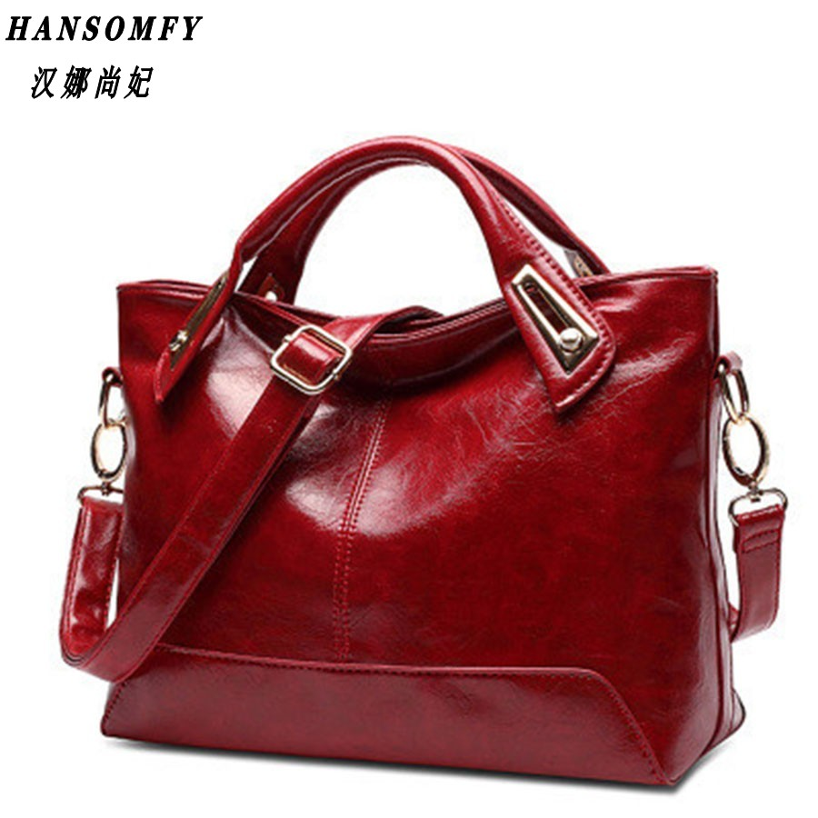 100% Genuine Leather Women Handbags 2019 New Cross-section Portable Shoulder Motorcycle Bag Fashion Vintage Messenger